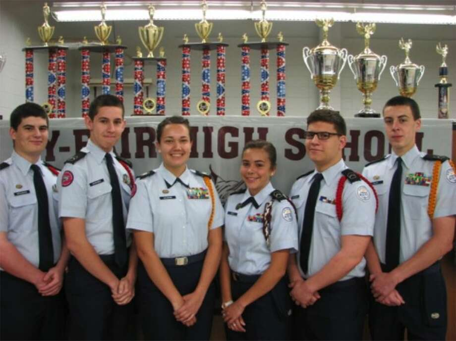 The Cy-Fair High School AFJROTC Academics Team advanced to the final championship round of the AFJROTC Academic Bowl after a successful Level II competition. Pictured (L-R) are sophomore Thomas Dragsbaek, juniors Kevin Schreiber and Haley Naumann, sophomore Cira Wolf, junior Nelson Dragsbaek and sophomore James Richie.
