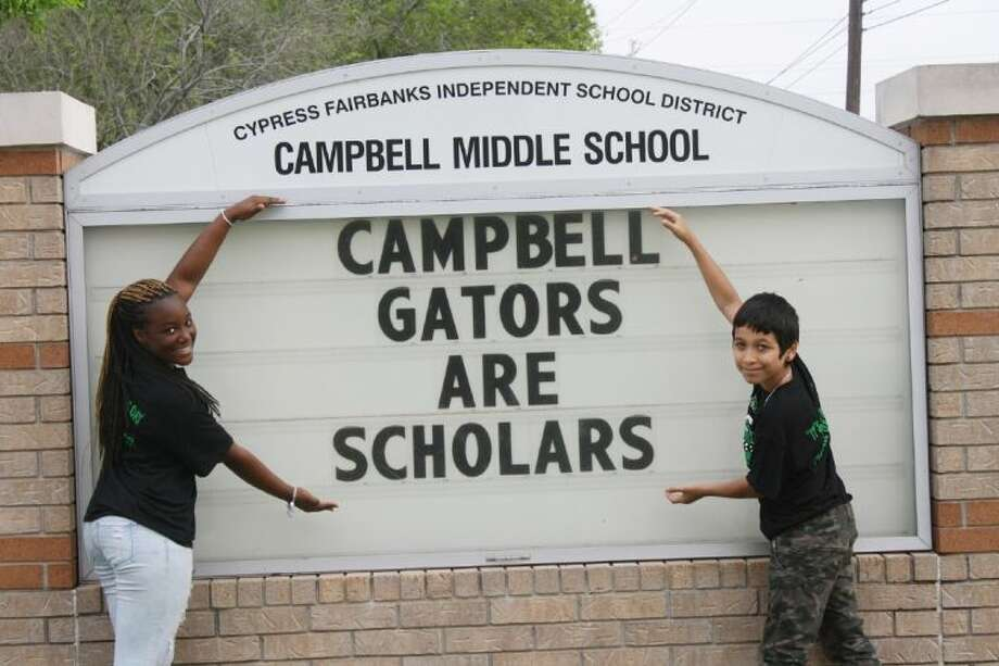 Campbell Middle School seventh-grade students Kieara Davis, left, and Francisco Villareal were two of CFISD's four Do the Write Thing school finalists. Photo: Submitted Photo
