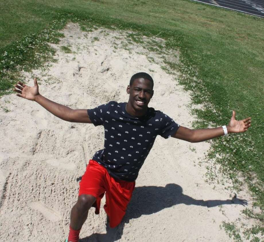 The sand pit is Jermaine Stevens' home where the South Houston long jumper hopes to keep it his home for another month as he pursues a possible regional berth and maybe even a state championship berth. Photo: Robert Avery