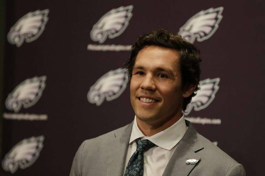 Newly-acquired Philadelphia Eagles quarterback Sam Bradford answers a question during a news conference Wednesday in Philadelphia.