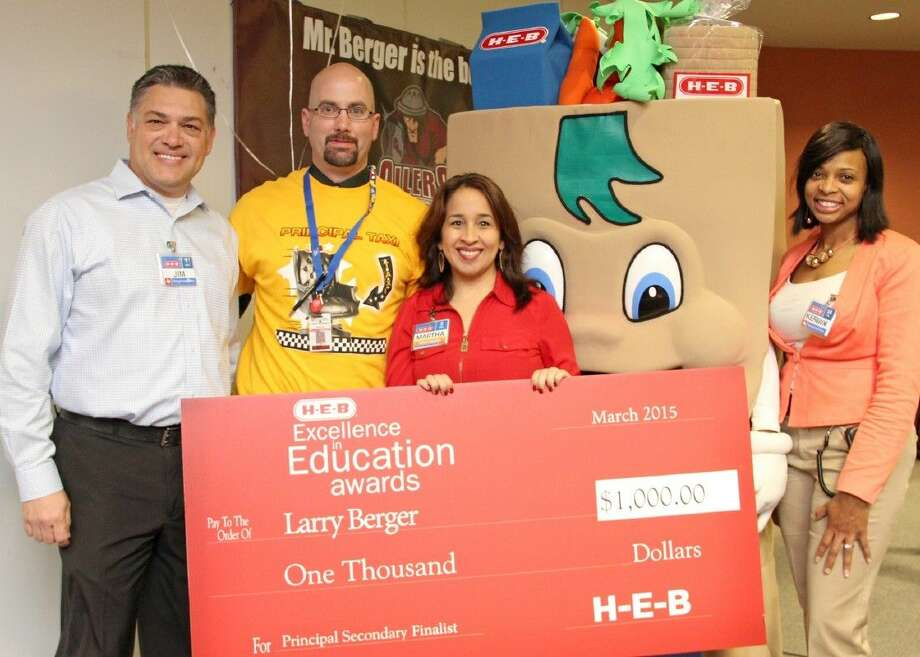 H-E-B announced Pearland High School principal Larry Berger (second from left) as an H-E-B Excellence in Education regional principal finalist March 11.