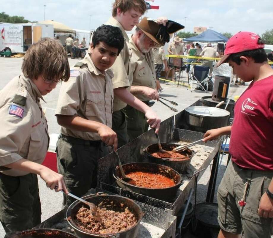 A group of scouts cook chili at Scout Fair. Photo: Submitted Photo