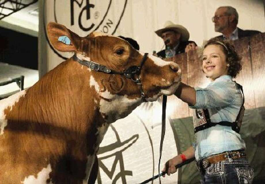 Kaylee Hill's steer was named the Grand Champion during the Junior Livestock Show at the Montgomery County Fair and Rodeo Wednesday. The Splendora FFA member's steer was sold for 27,000. Approximately 1,000 exhibitors showed animals, of which 140 were sold at auction. Photo: Jason Fochtman / Conroe Courier