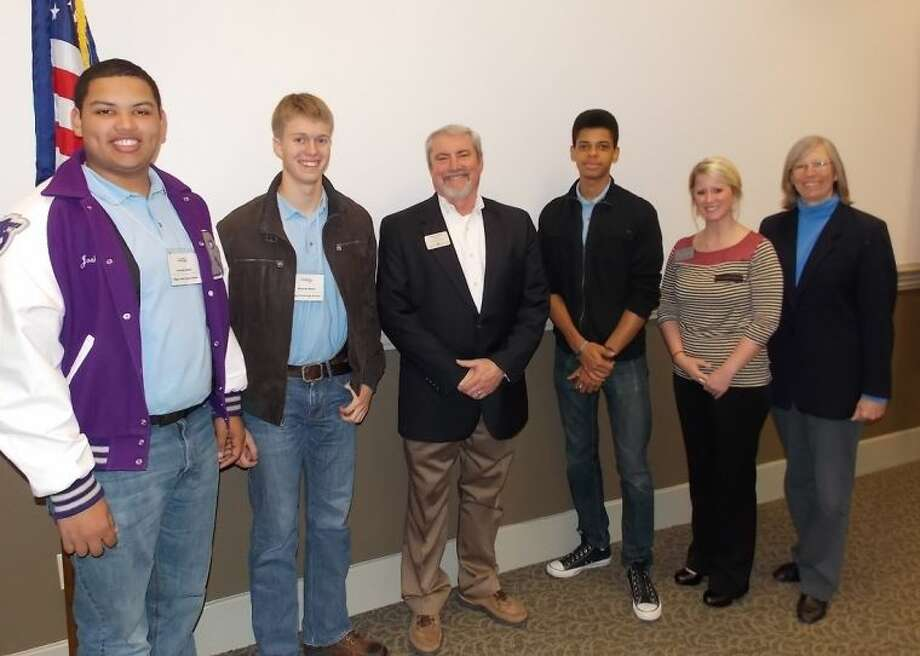 Shown at the Fort Bend Chamber of Commerce are (from left): Joshua Mack and Hudson Blom (Ridge Point High School), Glen Smith, business owner and chamber volunteer; Zachary Person (Bush High School); Juliette Bloomer, director of programs; and Grayle James, FBISD School Board assistant secretary.