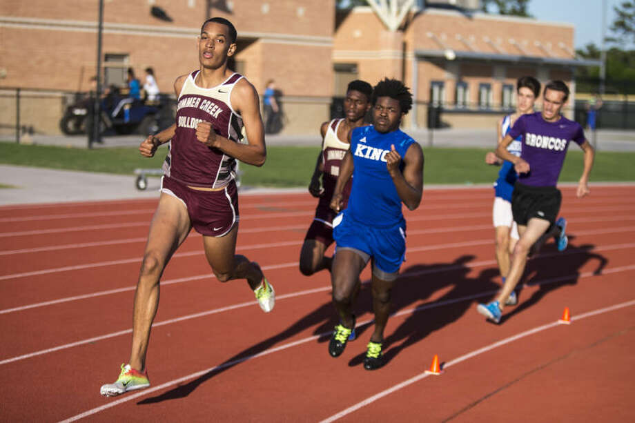 Summer Creek's Josh Lecesne competes and places first in the Boys 800 Meter Run during the District 19-4A and 13-5A Championship track meet on April 9, 2014, at Turner Stadium in Humble. (Photo by ANDREW BUCKLEY/The Observer) Photo: ANDREW BUCKLEY