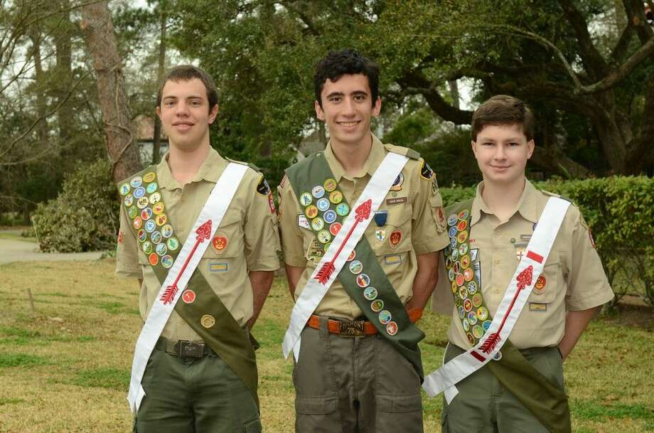 Troop 642 Eagle Scouts include from left, Stratford senior Daniel Eliades, Logos preparatory senior David Rivera and Westside freshman Harrold Tobin.