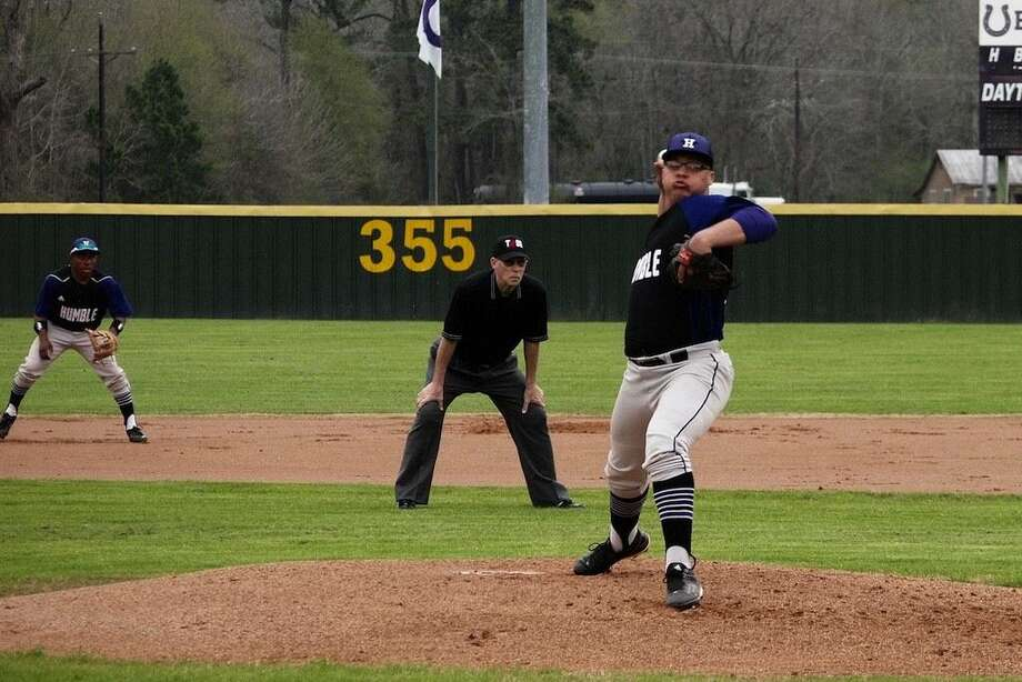 Josh Wells pitched a complete game for Humble at Dayton Monday, March 16, 2015. Photo: Casey Stinnett