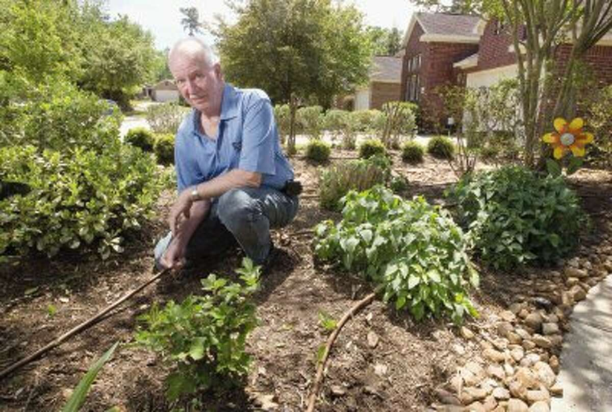 Wilson McCoy installed a complex irrigation system in both the front and back yards of his home in The Woodlands. The system, in addition to featuring drought resistant, native plants to the area, has lowered his water usage by almost 25 percent since 2013.