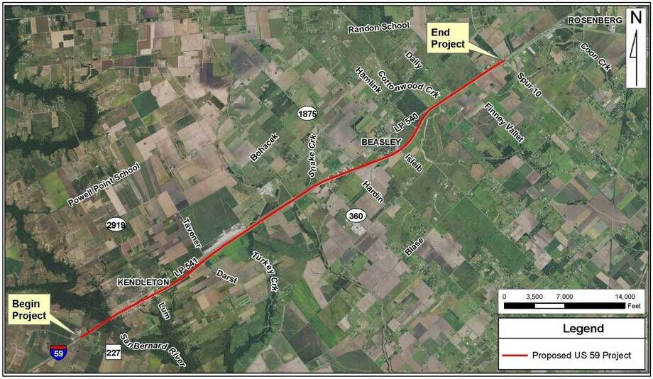 The area shown in red indicates the 10-mile stretch of I-69 between County Road 227 in Wharton County and Spur 10 in Fort Ben County. The $146 million project is scheduled to begin this fall.