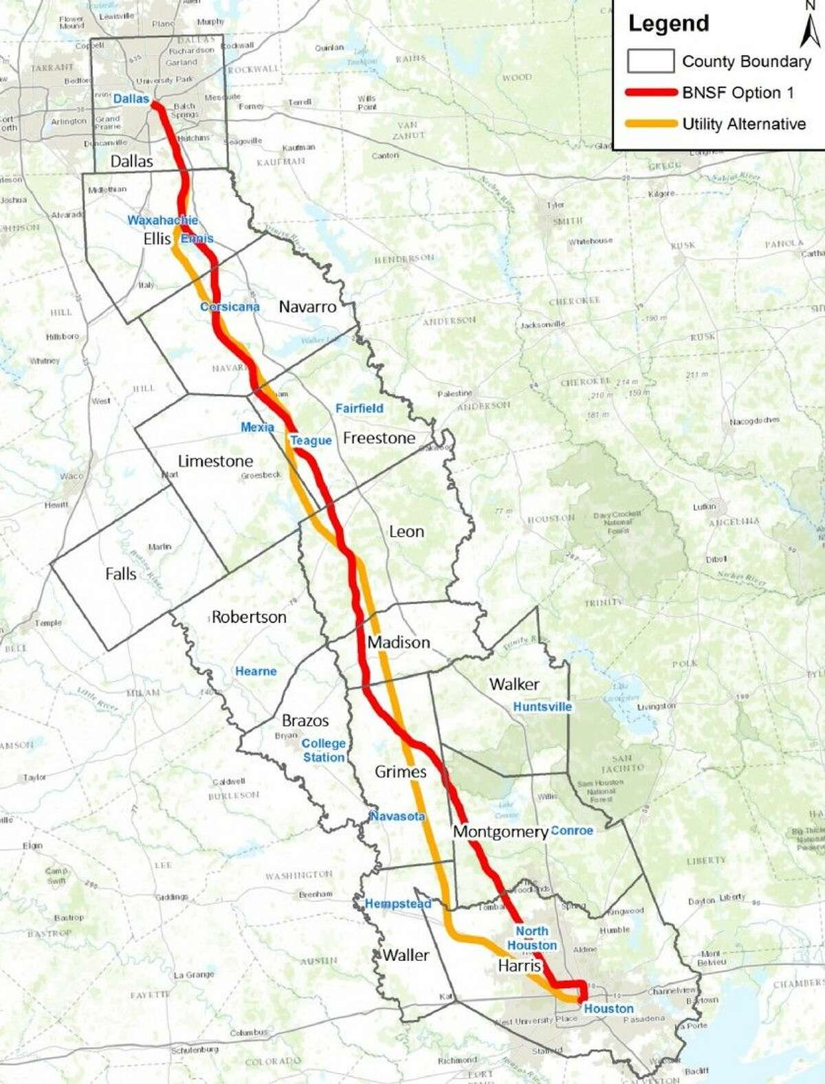 The proposed routes for the Texas Central High-Speed Railway. The orange utility alignment is the preferred route by the company.