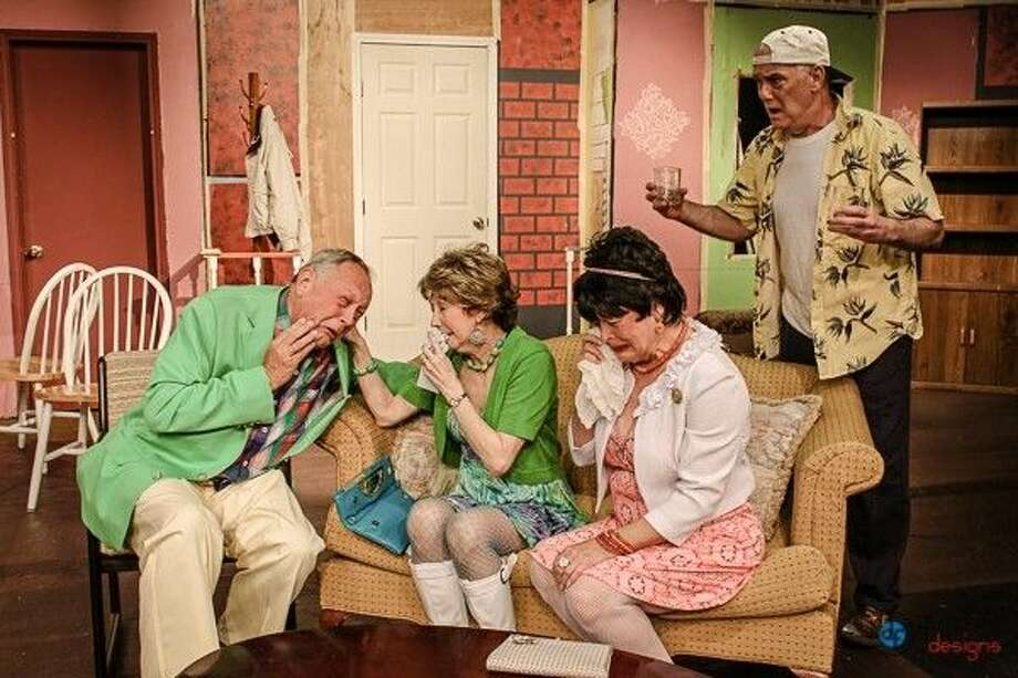(L to R) Steve Quimby, Kathy Edge, Janet Elayne and Jeff Luchsinger are shown in a scene from The Odd Couple directed by Carolyn McLeod and written by Neil Simon at Pasadena Little Theatre, 4318 Allen-Genoa Road. Running weekends through March 29, the show times are 8 p.m. Friday and Saturday and 3 p.m.. Sunday. Make reservations at www.pasadenalittletheatre.org or call 713-941-1758.