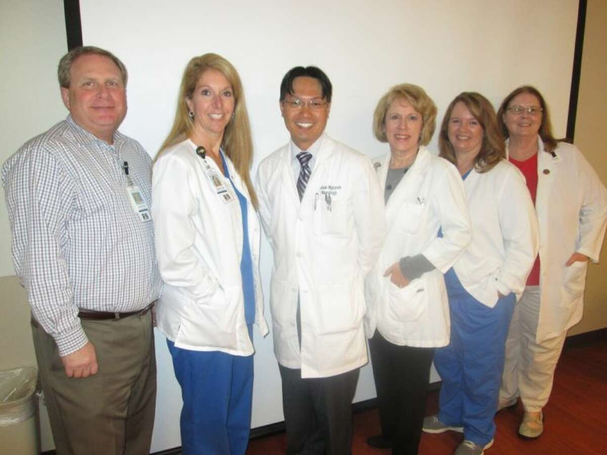 The leadership of Memorial Hermann Northeast Hospital's Stroke Care Team met recently to celebrate the recertification as an Advanced Primary Stroke Center by The Joint Commission: (from left) - David Beck; Marci Holub; Khanh Nguyen, M.D.; Glo Montross; Angela Morgan; and Jean Murray.