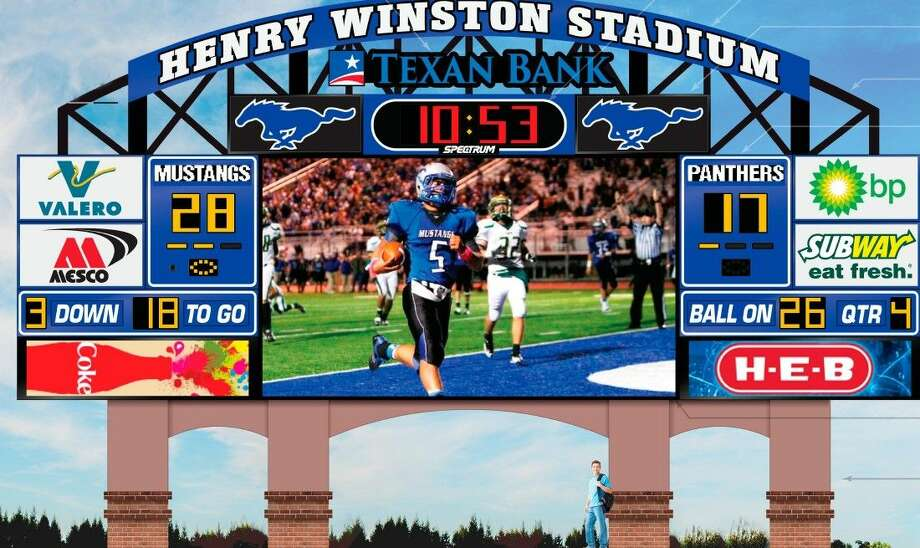 The Friendswood ISD Board of Trustees approved funding of $459,910 for a new video scoreboard for Henry Winston Stadium at its March 9 meeting. District officials plan to sell signage and digital ads that are expected to repay the original cost within five years and go on to generate estimated profits of $400,000 within ten years. Photo: Courtesy Friendswood ISD