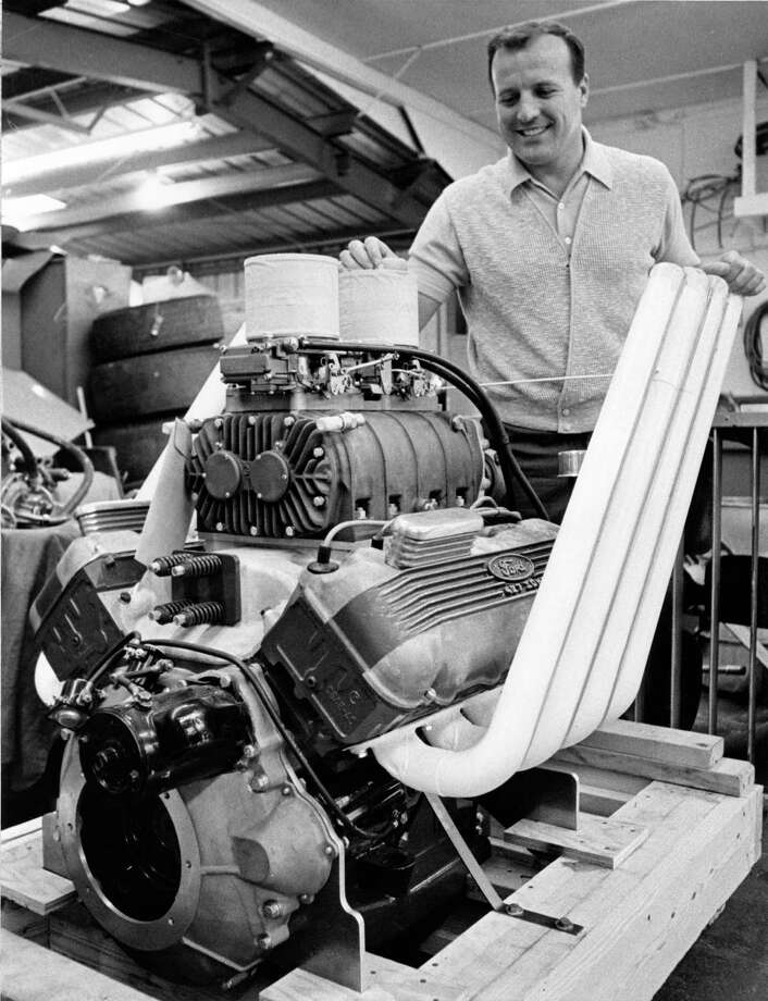 12/07/1967 - race car driver A.J. Foyt with his new boat engine. Photo: Bill Goodwin, HP Staff / Houston Post files