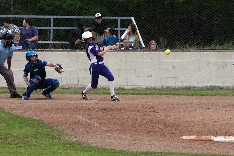 Dayton's Haley Pence made solid contact in the bottom of the second but lined out to first. Photo: Casey Stinnett
