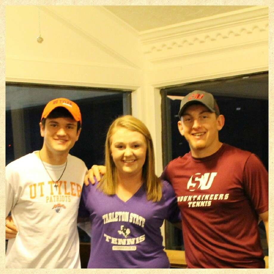 Jose McIntyre of Clear Falls (left to right), Shelby Fillingame of Barbers Hill, and Andrew Albright of Clear Brook have each earned college scholarships and train at Bay Area Racquet Club. Photo: SUBMITTED PHOTO