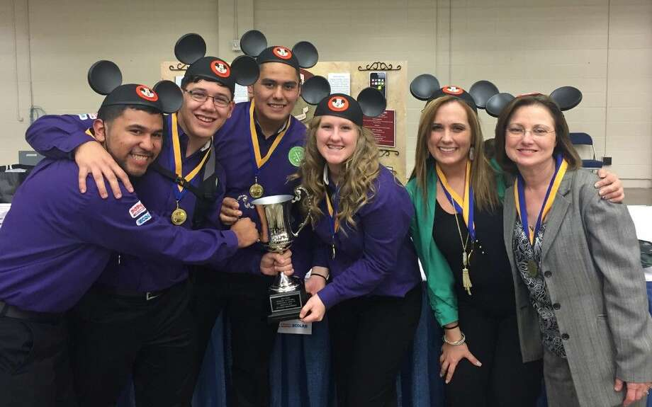 Members of the New Caney High School Culinary Arts team celebrate after advancing to nationals.