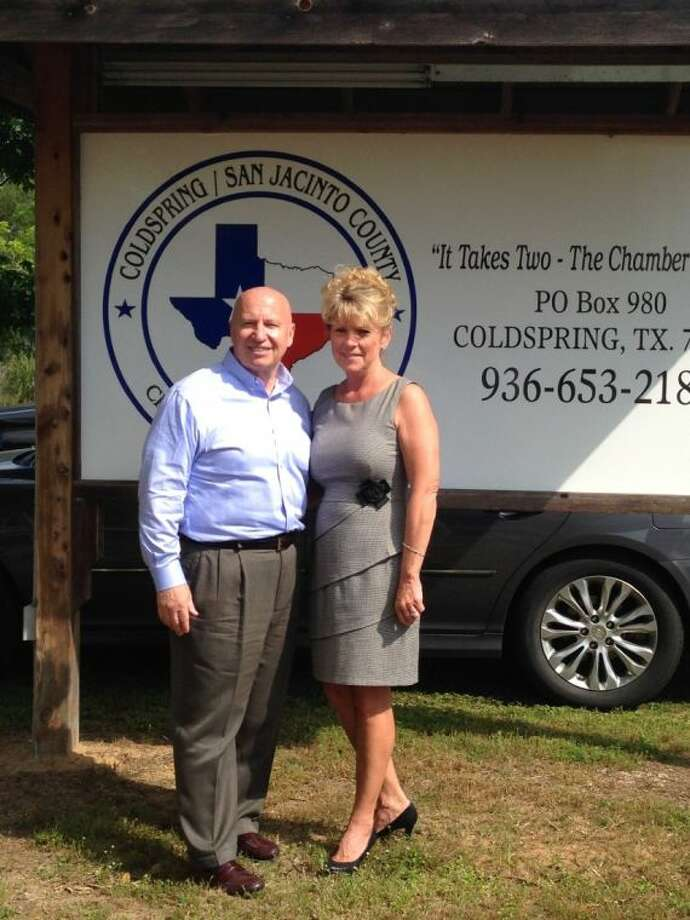 Congressman Kevin Brady, who was a chamber of commerce manager before being elected to the U.S. House of Representatives, stopped by Coldspring on Tuesday, April 22, and met with the Coldspring Chamber's new manager, Tammy Gibson.