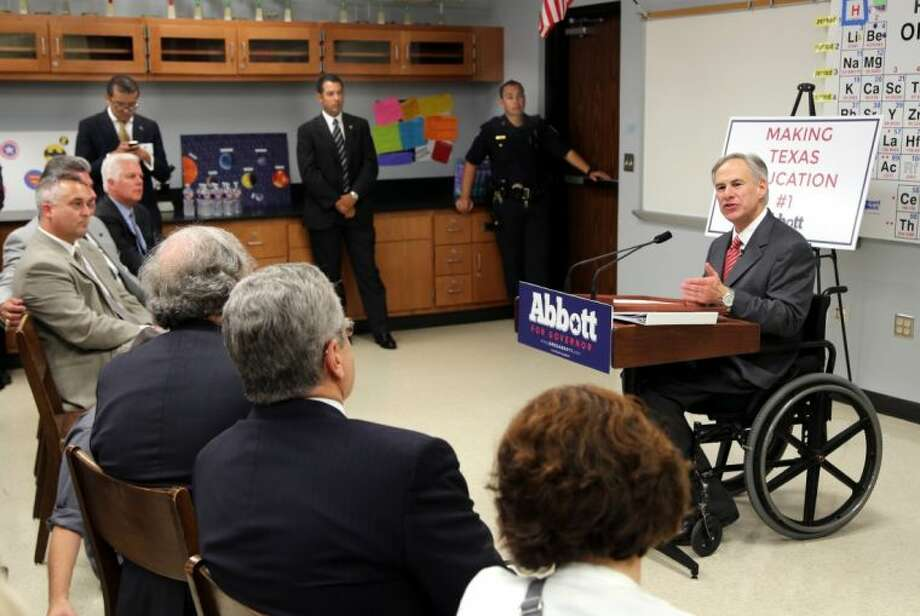Abbott unveils the second phase of his education plan Wednesday at Northbrook High School. Photo: Rusty Graham