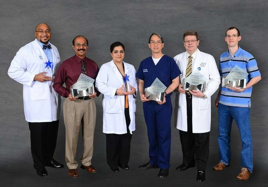 Doctor's Day Award Winners (left-right) Dr. Eddie Patton Jr., Dr. Shiva Satish, Dr. Bushra Cheema, Dr. Vincent Phan, Dr. Mauricio Reinoso and Dr. Timothy Oppermann (not pictured is Dr. Kumara Peddamatham).
