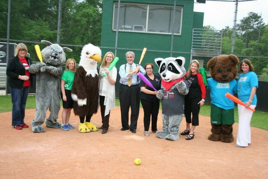 The mascots from Foster Elementary, Elm Grove Elementary, Woodland Hills Elementary and Bear Branch Elementary all met up with Humble ISD Superintendent Dr. Guy Sconzo to prepare for their upcoming Softball Tournament May 8, 2015.