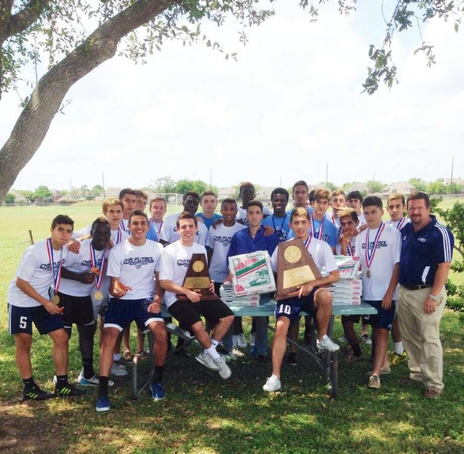 The 5A State Champion Clements High School boy's soccer team celebrated their state win with a dozen pizza pies furnished courtesy of Papa John's of Houston on Wednesday, April 23.