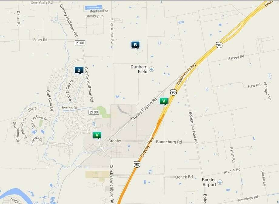Law enforcement activity in the Crosby area April 17-23. Legend: B - burglary; TV - theft from vehicle (BMV); V - stolen vehicle; R - robbery. Photo: Map By Crimereports.com