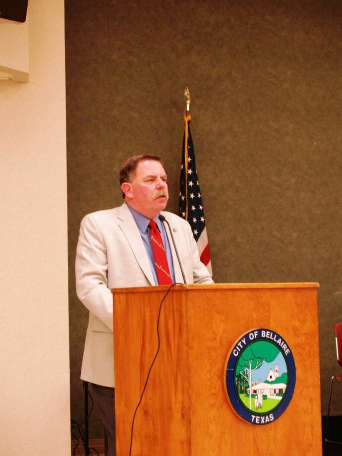 Bellaire Mayor Phil Nauert speaks at the community meeting regarding the Municipal Facilities Project on March 30th.