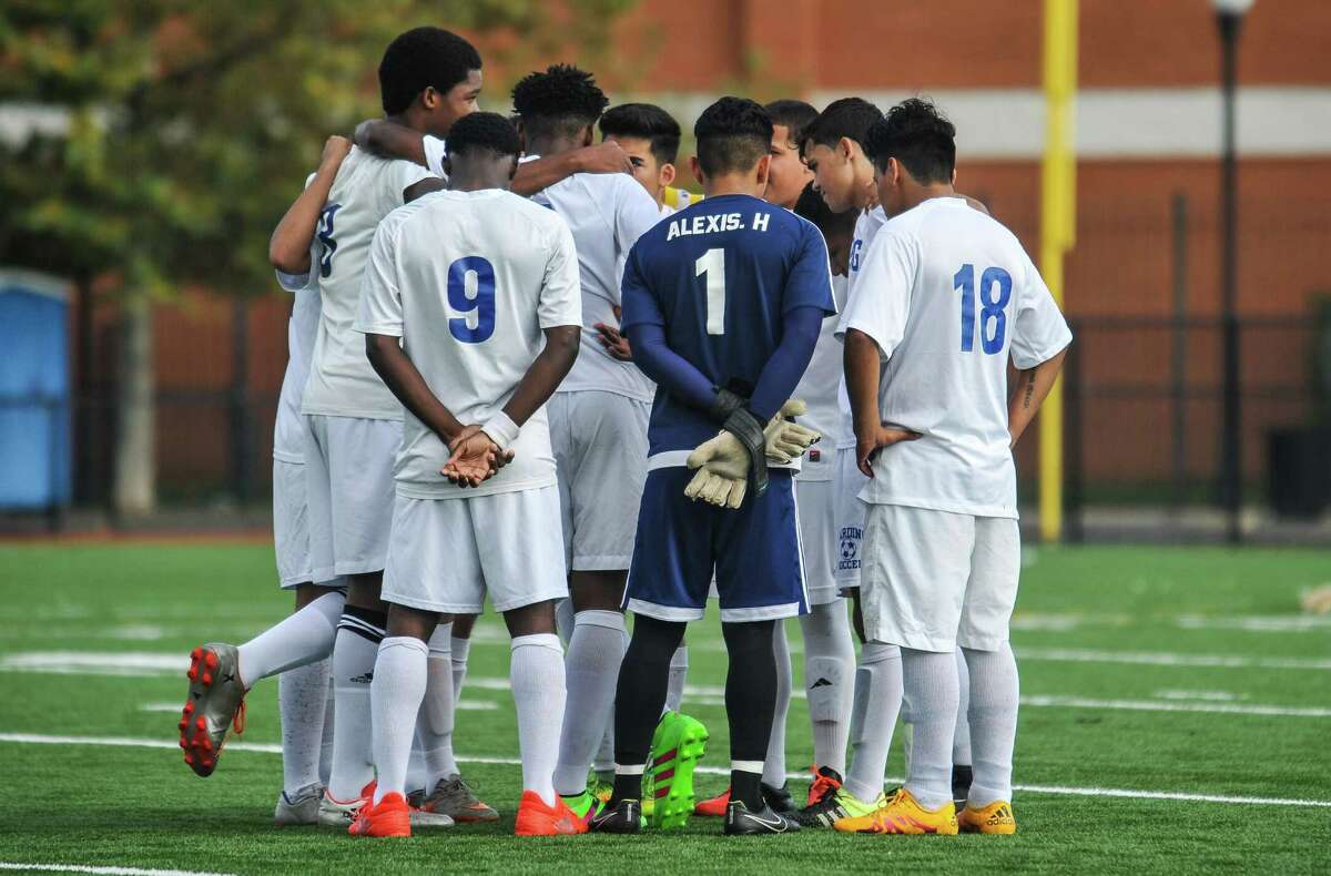 High School soccer action between the Notre Dame of Fairfield Lancers and the Harding Presidents on October 3, 2016 at the Luis Munoz Marin School in Bridgeport, Connecticut.