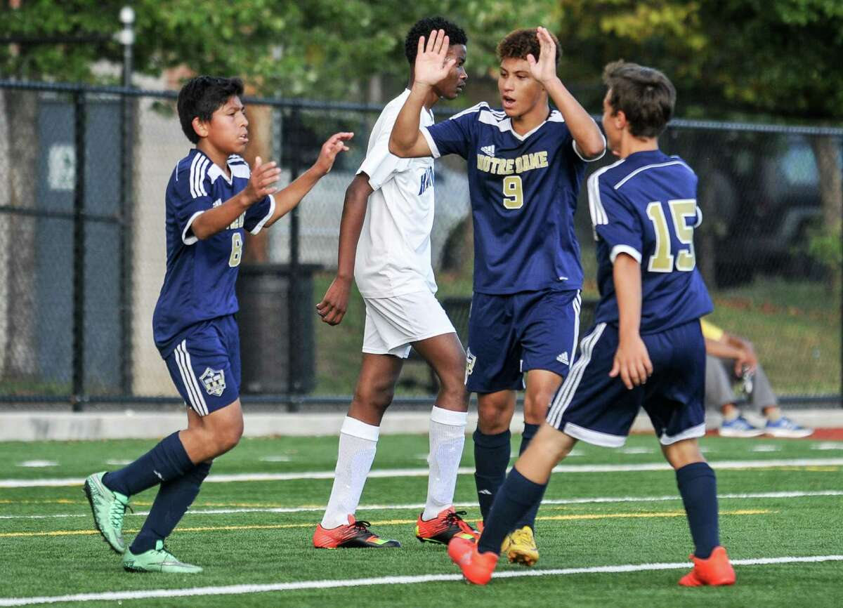 At left, Notre Dame's Jeff Franco is congratulated by teammates after scoring a first-half goal.