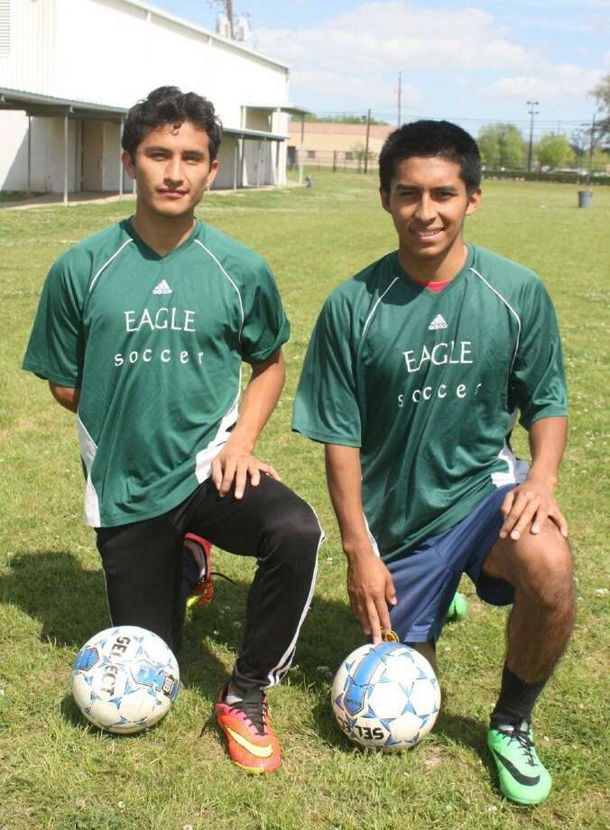Pasadena's three-year lettermen, Julio Jimenez (left) and Luis Araujo, have the Eagles soccer team back in Region III's Final Four for a second straight year. Pasadena's program is now 5-1 for the state playoffs since the 2014 campaign, a mark not many programs in the state can boast of. Photo: Robert Avery