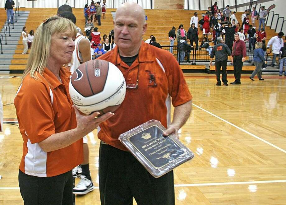 Scott and Vicki Talton celebrating his 500th victory at the school in 2008. Talton passed away the following year.