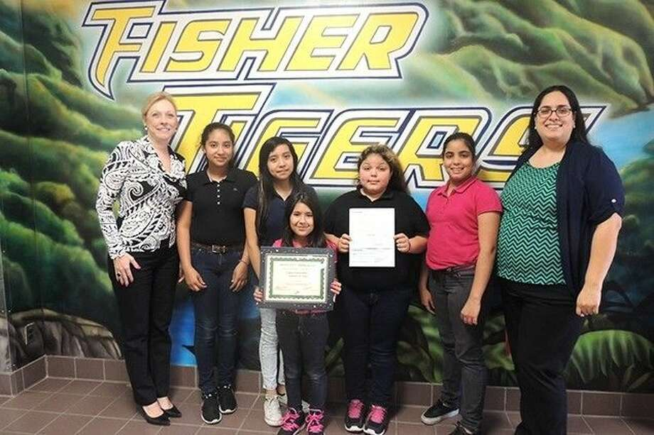 Pictured from left: Fisher Elementary Principal Libby Escalante; Emily Escoto, student council president; Jessica Palma, treasurer; Leanne Torres, member; Aizlyn Garza, secretary; Jayden Palacios, vice president; Wadquidia Retta, student council advisor.