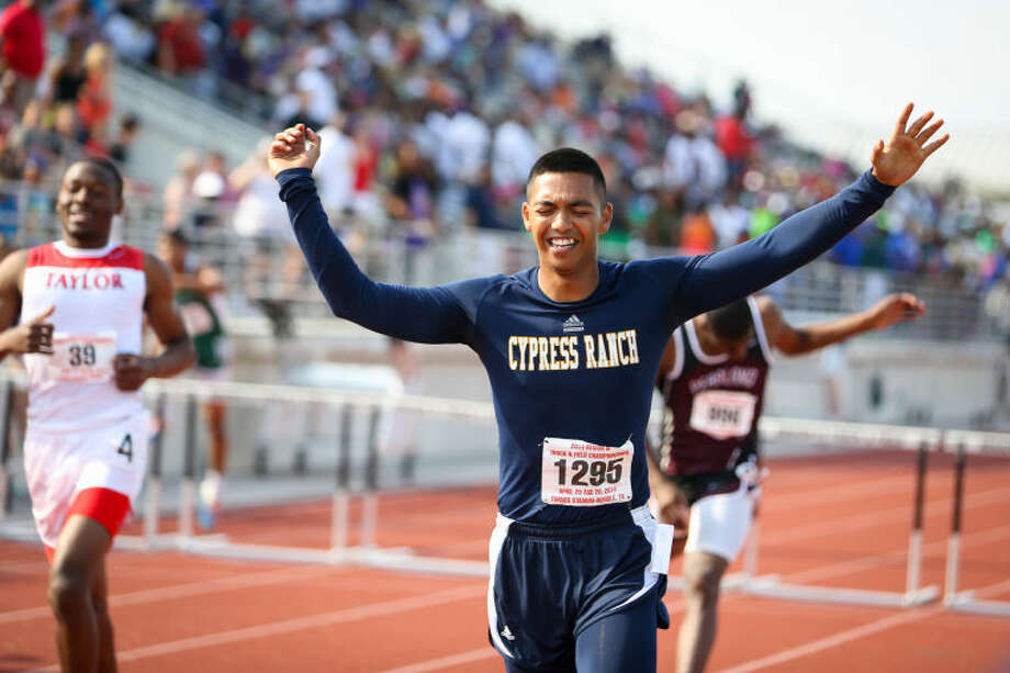 Cy Ranch's Yousef Shahin finishes first in the boys' 300 meter hurdles during the Region III 3A and 5A Track Championships on Saturday, April 26, 2014, at Turner Stadium in Humble. To view or purchase this photo and others like it, go to HCNPics.com. Photo: Michael Minasi
