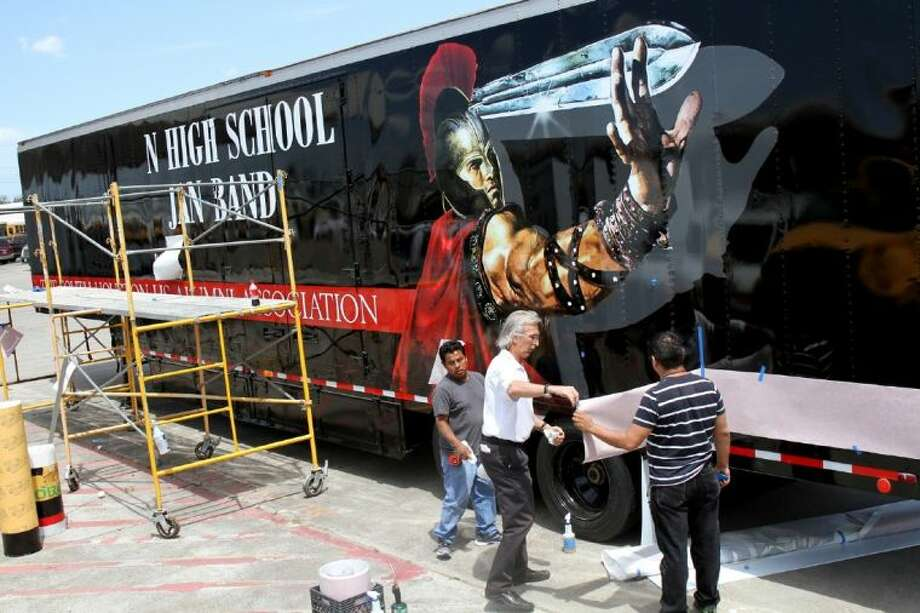 Work on the outside of the trailer in progress at the Pasadena ISD bus lot. Photo: Courtesy Pasadena ISD