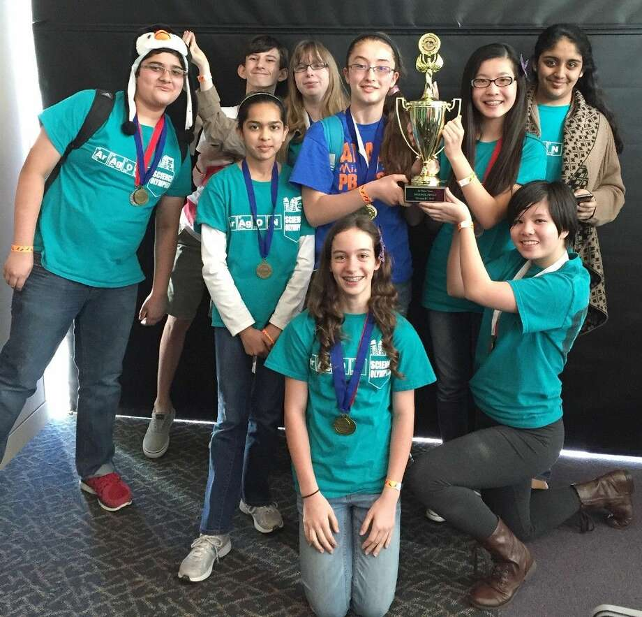 The Aragon Middle School Science Olympiad team celebrates its first-place win at the Lone Star University Park regional on March 28, propelling the team into the Texas Science Olympiad at Texas A&M University April 24-25.