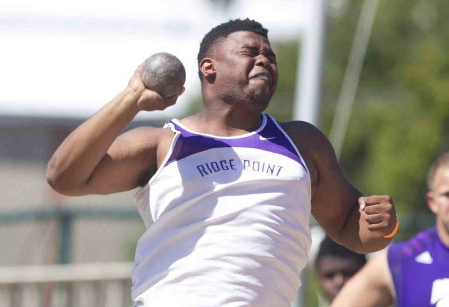 Ridge Point's Josh Burrell finished second in the boys shot put and won the discus during the Region III-4A track and field championships April 25-26 in Huntsville. Burrell advances to state in both events. Photo: Jason Fochtman