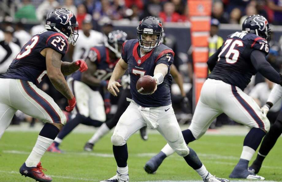 Arian Foster, Case Keenum and the Texans close regular season play at home today against the Jacksonville Jaguars. Photo: Patric Schneider