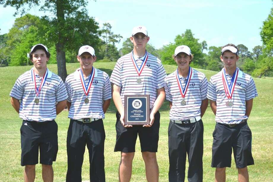 The Pearland Oilers' No. 1 golf team won the District 22-6A tournament at Evergreen Point Golf Club. Team members (left to right) are Carter East, Ty Salazar, Ryan Flowers, Sean Kinsey, Luke Howell.