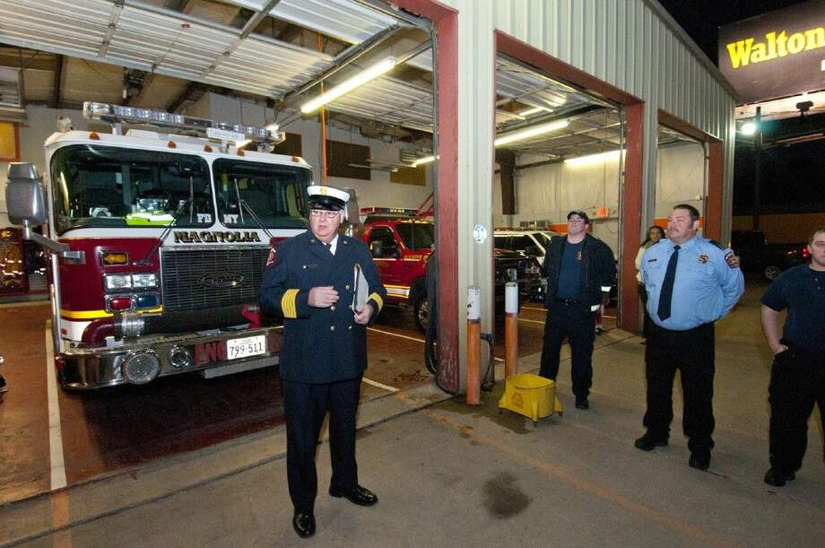 Magnolia Volunteer Fire Chief Gary Vincent addressed the crowd during a cermony March 8 to bring in a new fire truck to Station 183 on FM 2978. Photo: Photographer