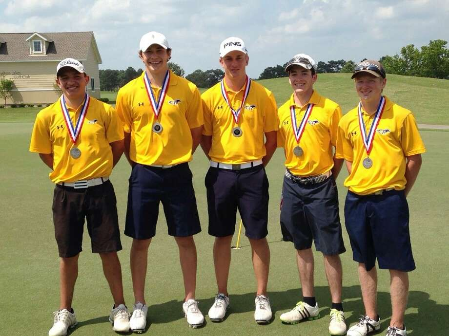The Cypress Ranch High School boys' golf team placed second at the District 17-6A Golf Tournament at Hearthstone and Cypress Creek Lakes. Pictured (L-R) are: Daniel Nuñez, Wesley Hickman, Kyle Hogan, Patrick Kelly and Brandon McDaniel.