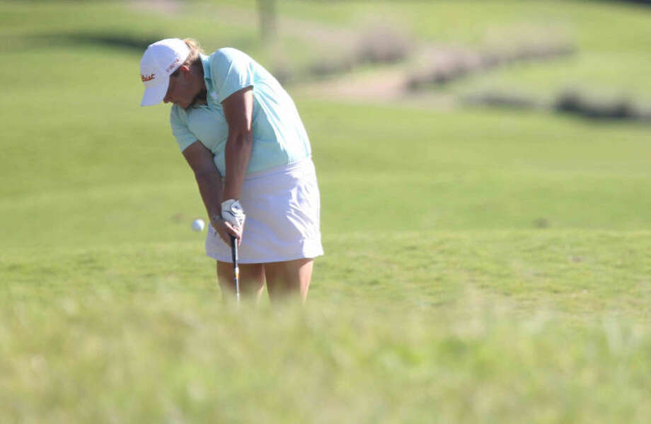 Kingwood Park's Sydney Hallmark during the Class 4A State UIL Golf Championships in Austin Monday. Photo: Jason Fochtman