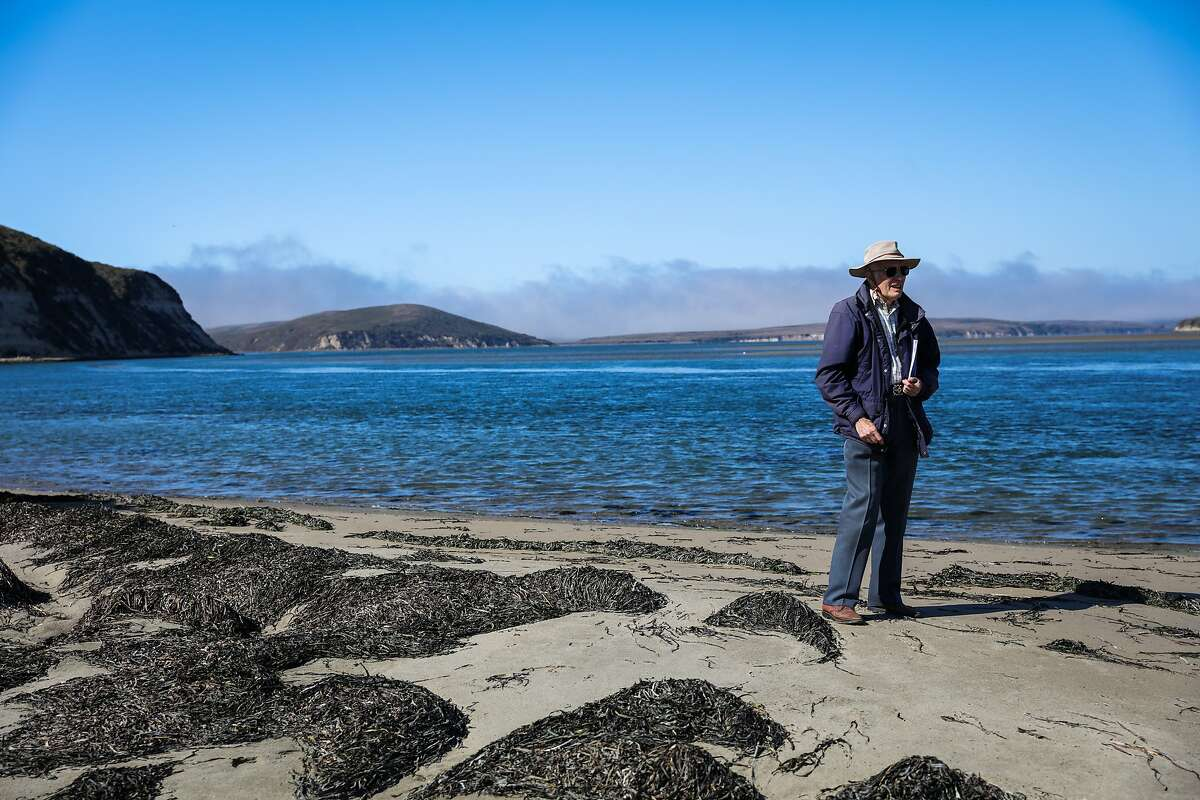 Historian and President of the Drake Navigators Guild, Edward Von Der Porten stands in Drake's cove while giving a tour of the area, in Inverness, California, on Tuesday, September 27, 2016.