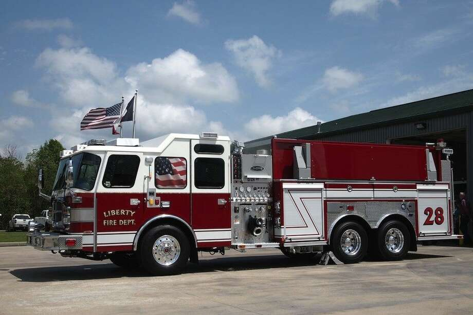 The Liberty Fire Department's new tanker truck was proudly displayed Tuesday afternoon, April 7, at the fire station on Lakeland Drive. Photo: Casey Stinnett