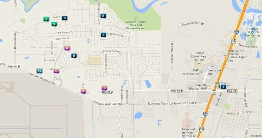 Law enforcement activity in the unincorporated Humble area April 17-23. Legend: B - burglary; V - stolen vehicle; TV - theft from vehicle (BMV); R - robbery. Photo: Map By Crimereports.com