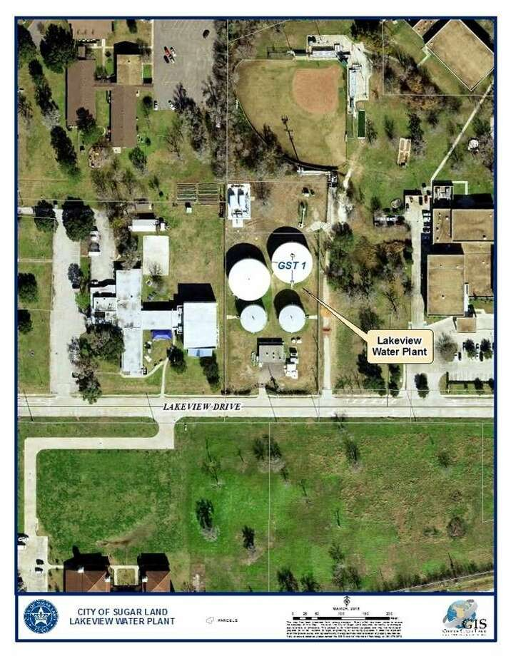 The aerial photo shows the location of the Lakeview Ground Water Storage Tanks