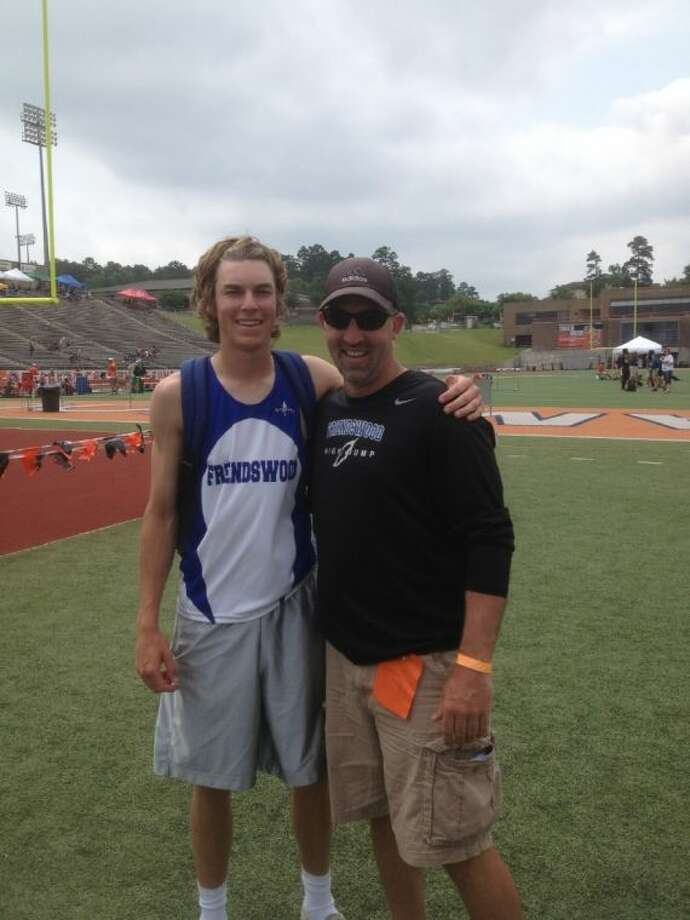 Friendswood's Garrett Cragin cleared seven feet in the high jump at the Region III-4A meet to win the event and post the fourth best effort in the nation and second best in the state. Cragin is shown with his coach, Daron Scott.