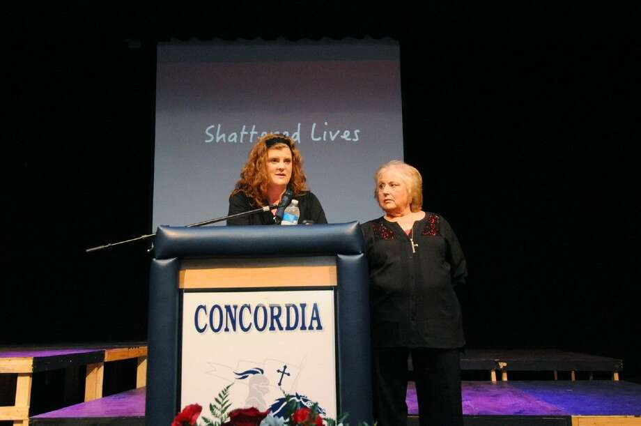 "Adrienne Lamont-Gurrola, a survivor of a 1993 DWI car accident, and her mother Florence ""Flo"" Lamont shared their story with students at Concordia Lutheran High Schooll during the Shattered Lives of Tomball program on Wednesday, April 8, 2015. Photo: Tony Gaines"