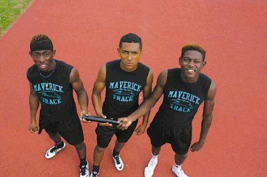 From L-R, Isaiah Allen, Wilson Salamanca and Jakobe Moye form three-fourths of Memorial's vastly improved 4 by 100 relay team that will compete at the all-important 22-6A meet this week. Missing is Jacob Zapata, who was at a job interview.