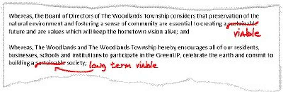 Graphic illustrates wording change made to the Earth Day proclamation approved by The Woodlands Township Board.